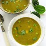 Zupa kukurydziana krem zeszpinakiem itofu – wegańska