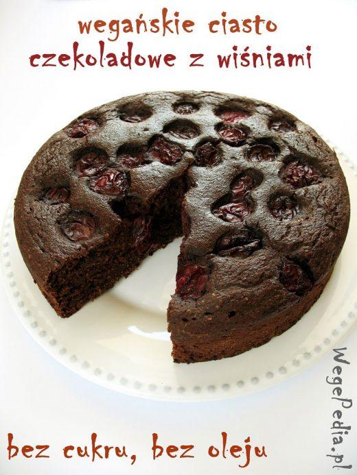 wegańskie ciasto czekoladowe z wiśniami