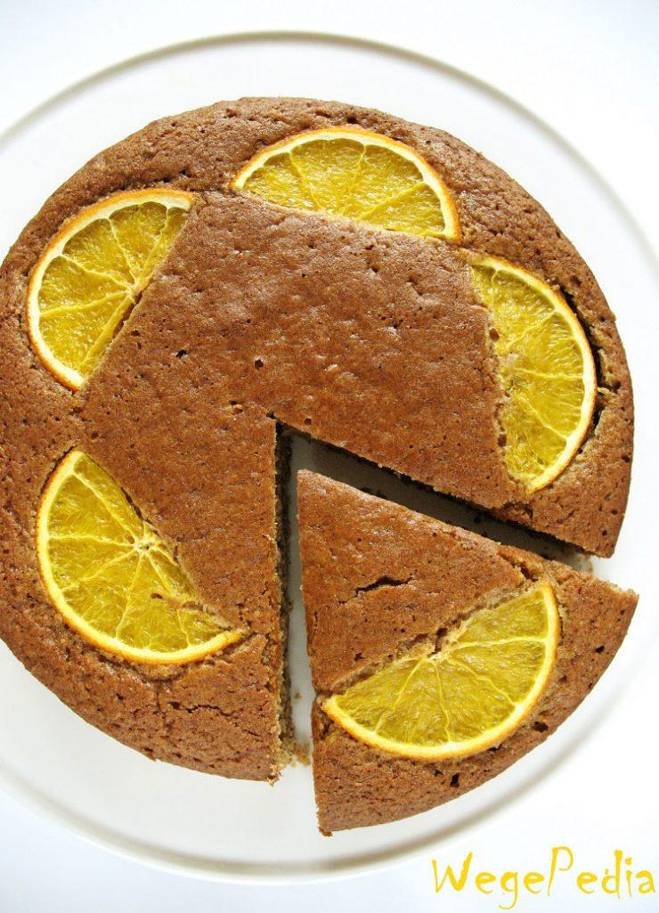 wegańskie ciasto migdałowe z pomarańczą
