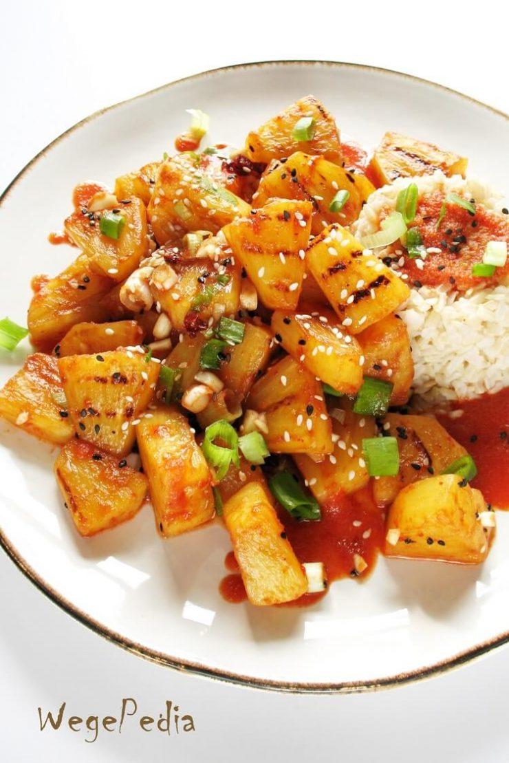 Smażony lub grillowany ananas w sosie chili - fit