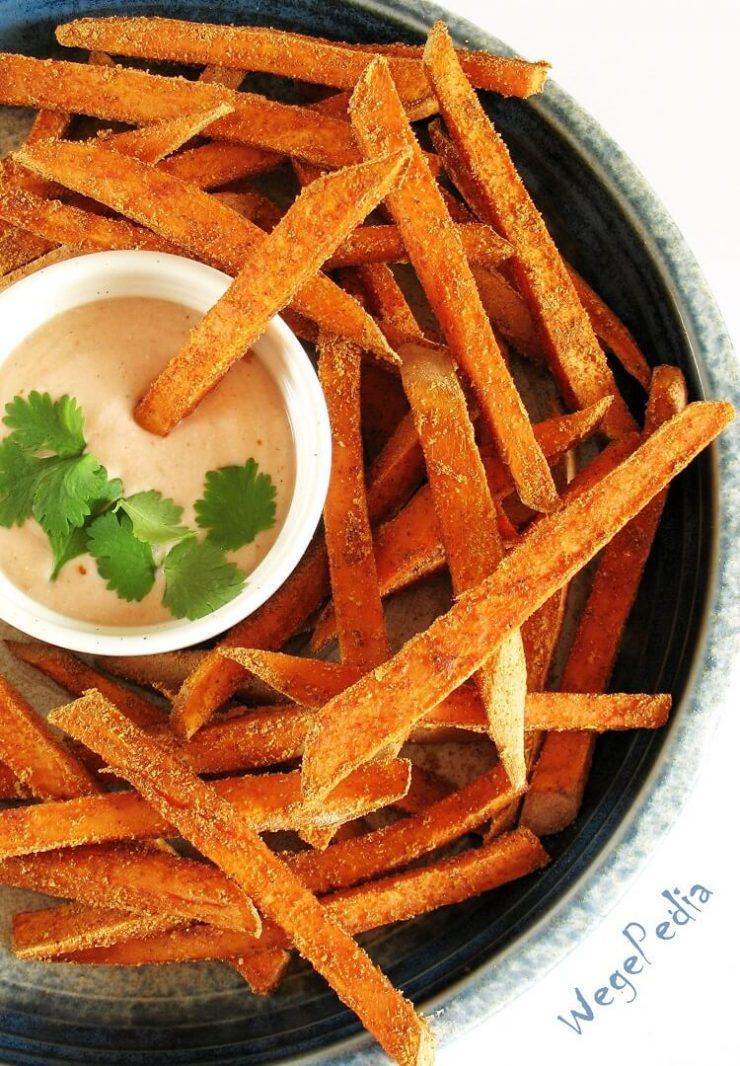 Pieczone frytki ze słodkich ziemniaków / batatów, chrupiące