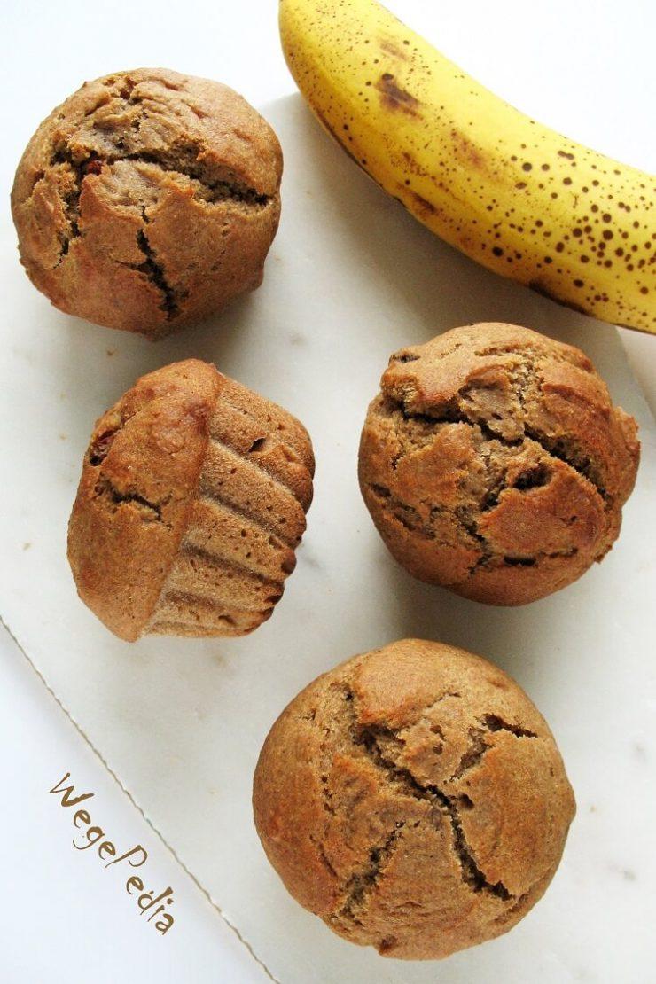 Babeczki bananowe fit z orzechami - wegańskie, bez cukru