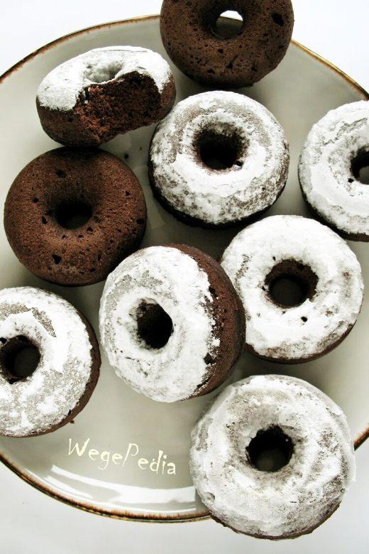 Fit donuty czekoladowe z kakao - pieczone, wegańskie