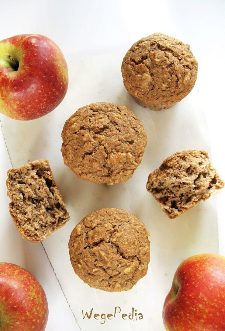 Wegańskie muffiny z jabłkami i cynamonem - fit, bez cukru
