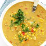 Zupa zkukurydzy, papryki iziemniaków, wegańska