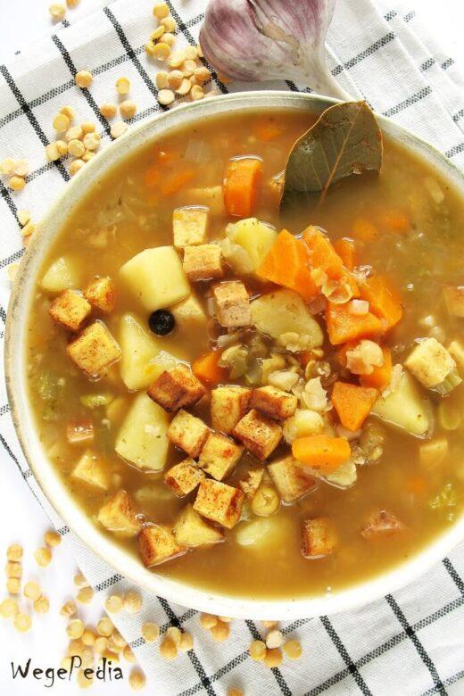 Grochówka wegańska, zupa grochowa bez mięsa
