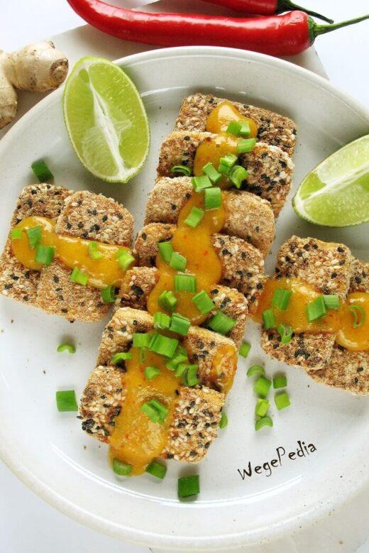 Tofu smażone bez tłuszczu w panierce z sezamem