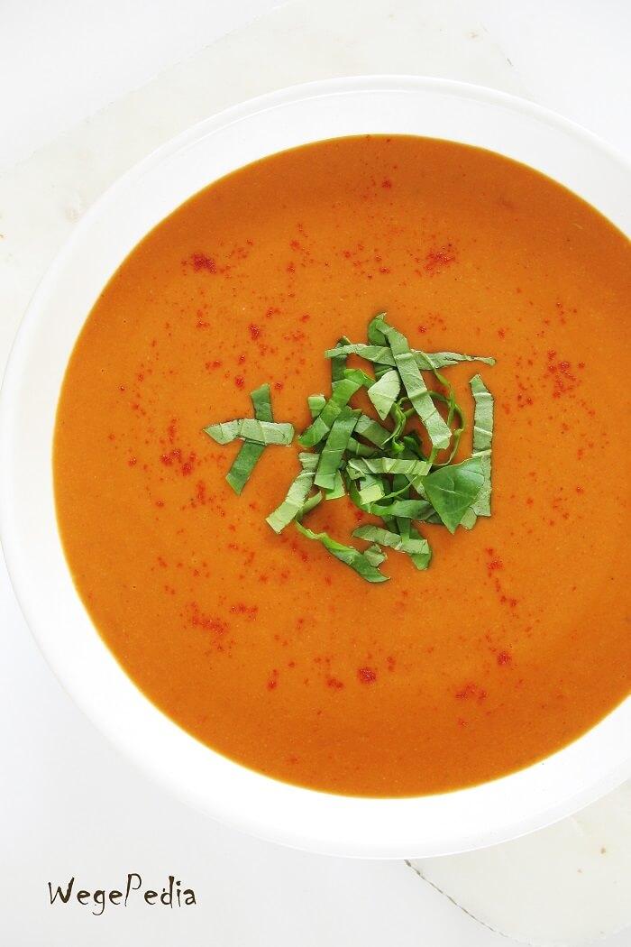 Zupa krem ziemniaczano-pomidorowa, wegańska