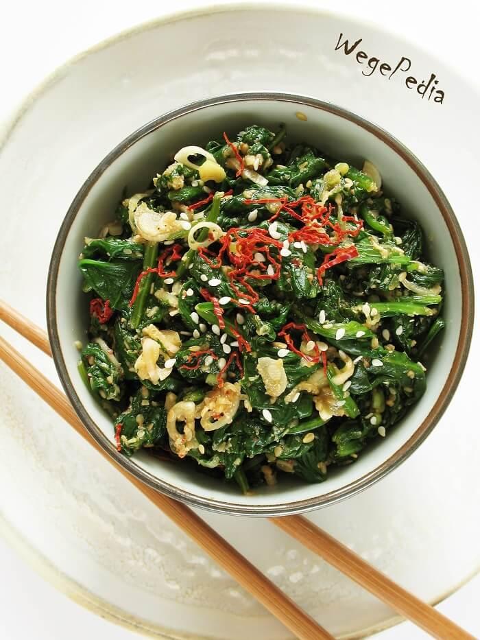 Gotowany szpinak po koreańsku do obiadu, szybki!